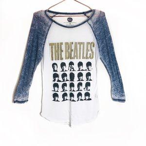 EUC The Beatles Printed Burnout Tee Medium